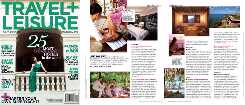 Travel+Leisure best couples spas by Chami Jotisalikorn,www.barefootluxe.net
