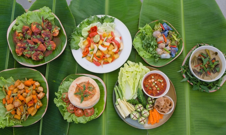 Museflower Retreat & Spa Chiang Rai, Thailand.vegetarian cuisine buffet