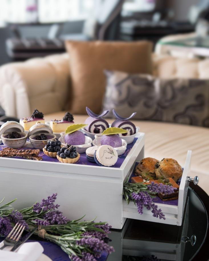 Lavender afternoon tea set, Okura Prestige Bangkok hotel, best luxury hotel Bangkok, www.BarefootLuxe.net